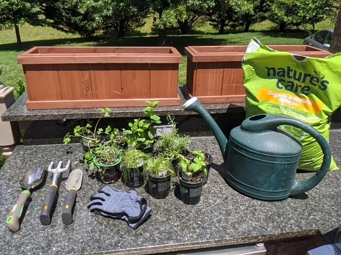 Supplies for creating an herb garden