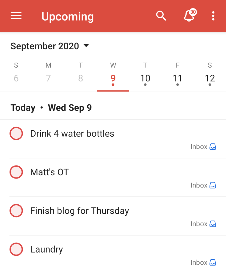 Screenshot of TodoIst to show a visual of an organized digital to-do list.