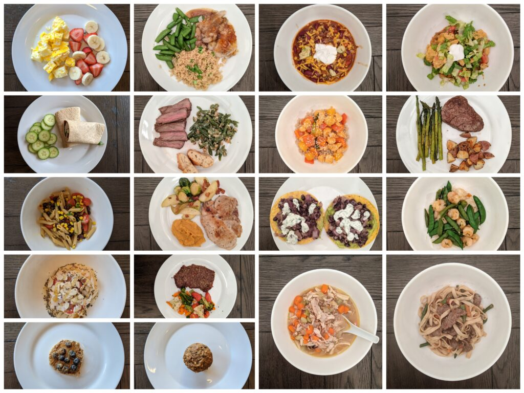 Image of 18 meals cooked at home